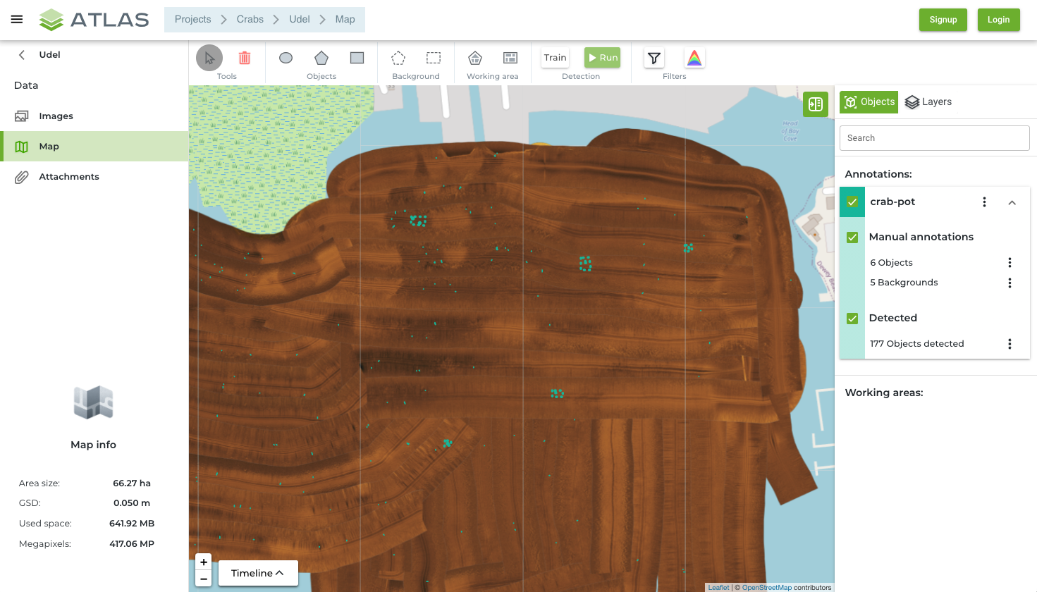 ATLAS report with georeferenced detection result in GeoJSON